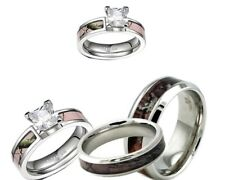 His and Her Titanium Camo & CZ Stainless Steel Pink Engagement Wedding Ring Set