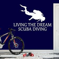 Scuba Diving Sticker Living The Dream Diver Snorkel Wall Vinyl Print Decal Art