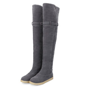 Women's Flats Heel Over The Knee Boots Stretch Pull on Pointy Toe Winter Booties