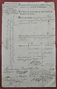 Armée du Rhin Feuille de Route 4 prisonniers de Guerre Landau Strasbourg 1800