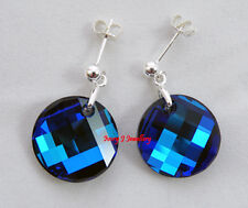 Bermuda Blue Swarovski Crystal Twisted Round Faceted Earrings 925 S Silver