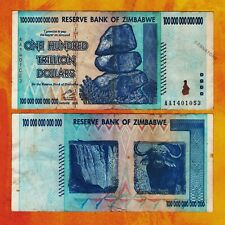 100 Trillion Zimbabwe Dollars Bank Note, AA 2008, Circulated, Authentic Banknote