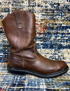 Vtg Red Wing Pecos Brown Leather Work Boots US Made Supersole Men's 9 B Soft Toe