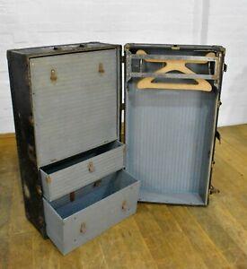 Antique Vintage travelling steamer wardrobe - trunk - chest