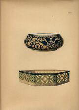 Stampa antica GIAPPONE JAPAN STYLE due recipienti decorati 1885 Antique print