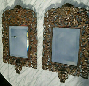 """c1880 Pair of Antique French Bronze Bevelled Glass Wall Mirrors 19"""" by 11.25"""""""