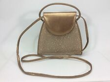 STUART WEITZMAN Gold Bronze Crossbody Clutch Purse-Spain-EUC