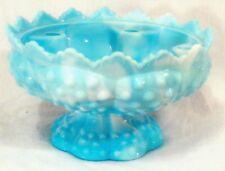 RARE VINTAGE FENTON BLUE MARBLED SLAG GLASS FOOTED FLOWER FROG CANDLE HOLDER