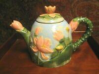 VINTAGE NOVELTY TEA POT FLORAL DESIGN PINK FLOWERS GREAT CONDITION