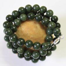 "100% Natural (Grade A) Untreated Dark Oily Green Jadeite JADE Necklace 21"" #N193"
