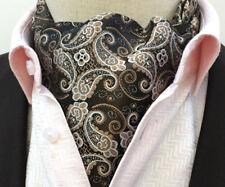 Fashion Brown Paisley Silk Men Cravat Ascot Tie Set with Matching Pocket Square