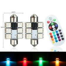 2pcs T10 6SMD RGB LED for Car Dome Reading Light Lamp Bulb+Remote Control 36mm
