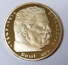 WW2 WWII Third Reich Nazi German Hindenburg 5RM 24K Gold plated coin