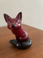 Vintage Royal Doulton Flambe Seated Red Fox Figurine - Excellent