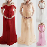 New Women Pregnant Maternity Off Shoulder Photography Party Lace Long Dress Gown