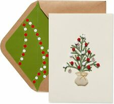 Papyrus Christmas Card- 3D Tiny Pine Tree w/ Pom Pom Ornaments in Burlap Bag