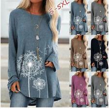 Women Ladies Long Sleeve Top Baggy Dandelion Printed Shirt Blouse Shirt S-5XL UK