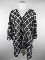 Lularoe Women's sz M Black Long Sleeve Wrap Waffle Print Sheer V-Neck Blouse Top