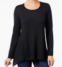 Sweater 3X Style&Co $60 NWT Scoop-Neck Crochet Lace Pullover Black MC106