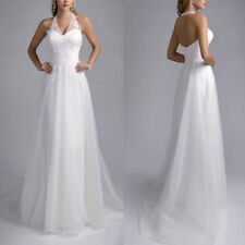 New White/Ivory Halter A Line Wedding Dresses Lace Applique Beach Bridal Gowns