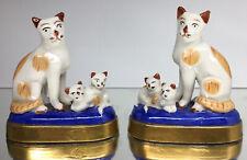 RARE ANTIQUE PAIR STAFFORDSHIRE CHELSEA PORCELAIN MOTHER CATS & KITTENS FIGURINE
