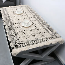 "Vintage Hand Crochet Lace Tablecloth Rectangle Cotton Table Cloth 23""x47"" Floral"