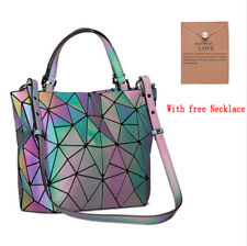 Geometric Luminous Purses Handbags Shard Lattice Leather Rainbow Large Briefcase