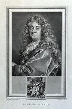 Charles le Brun, PITTORE ANTICO RITRATTO STAMPA ORIGINALE 1825