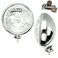"""Classic Car Vintage Style Stainless Steel Chrome 5"""" Clear Fog Lights Lamps 12v"""