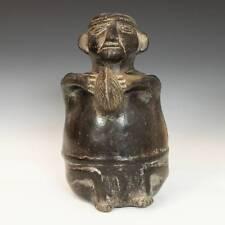 Pre-Columbian Figural Vessel Blackware Chimu Peru South America 1000 - 1450 Ad