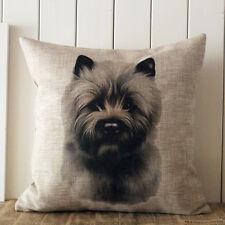 "18"" Cute Cairn Terrier Dog Linen Cushion Cover Throw Pillow Case Sofa Home Decor"