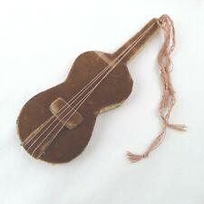Antique Hand Made Velvet Guitar Shaped Needle Case Holder Dusty Rose Shabby