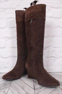 Un Branded Brown Suede Leather Knee High Wedge Block WINTER EU 40 UK 6.5