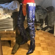 Made to order waist tall cowboy boots vith decorative stitching shaft and vamps