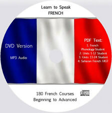 Learn to Speak French,180 Audio & PDF French Text Courses on DVD
