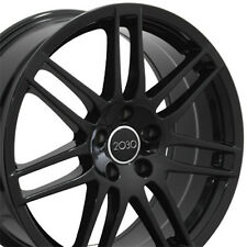 "18"" Wheels For Audi A3 A4 A5 A6 A8 VW GTI CC Golf 18x8 5X112 Black Rims Set (4)"