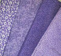 Purple Color Fat Quarter #1 | Fabric | Precut Quilting Cotton | Set of 4