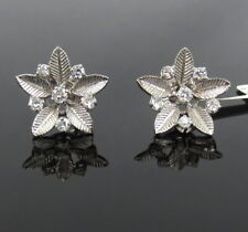 Vintage 0.55ct Diamond & 14K White Gold Carved Flower Stud Earrings