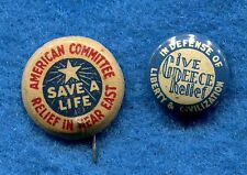 2 Pin Button Near East Committee Greece Relief Armenia 1915 PINBACKS SAVE Greeks