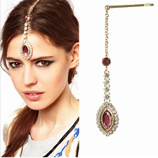 Elegant Women Bridal Rhinestone Crystal Red Gem Pendant Hair Clip Hairpin Acces