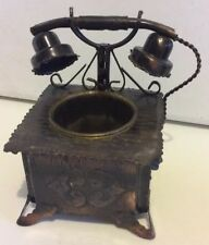Vintage Tin Metal Sculpture Art Planter Phone