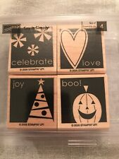 Stampin Up Say It Simply Set Of 4 Wood Mounted Rubber Stamp Su Scrapbooking 2005