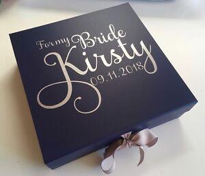 LARGE NAVY BLUE GIFT BOX PERSONALISED BIRTHDAY BRIDE BRIDESMAID GROOM BESTMAN