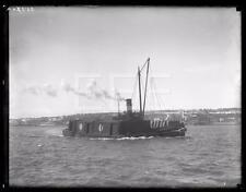 1920s Willard U Taylor Tug Boat & Barge Ship GLASS Old Photo Negative 310i