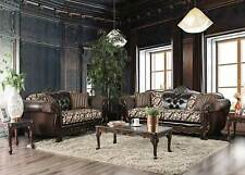Old World Living Room Wood Trim Brown Leatherette & Fabric Sofa Couch Set IGD4