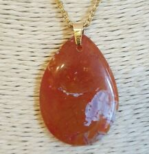 Natural Orange Dragon Veins Agate Gold Plated Stainless Steel Chain Necklace