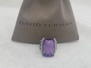 David Yurman 20x15mm Wheaton Ring Amethyst and Diamonds Size 7