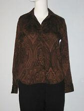 LAUREN Ralph Lauren Size M (Petite) Brown 100% Cotton Long Sleeves Blouse