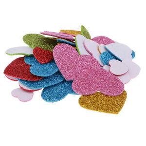 50 Pcs Mixed Glitter Heart Foam Stickers Wall Decor Early Educational toys