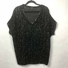 Torrid Women's 0 Large Black Silver Short Sleeve Open Knit Pullover Sweater Top